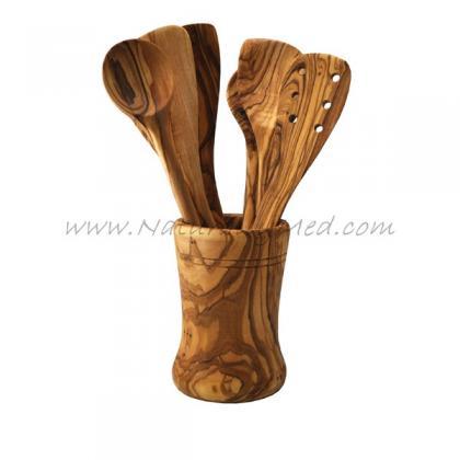 Olive Wood Utensil Holder Round Naturally Med