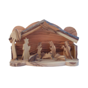 Olive Wood Nativity Set with Bark Roof - Small