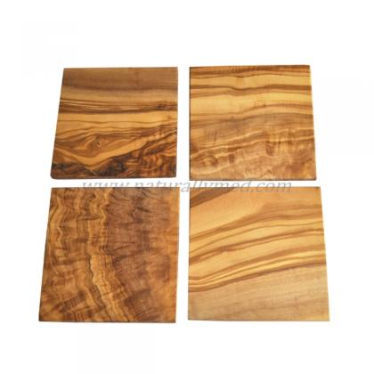 Olive Wood Square Coasters Set Of 4 Naturally Med