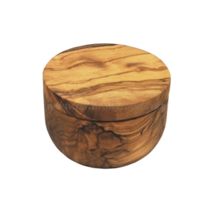Olive Wood Salt Cellar With Pivoting Lid