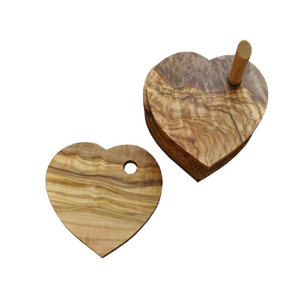 Olive Wood Heart Coasters