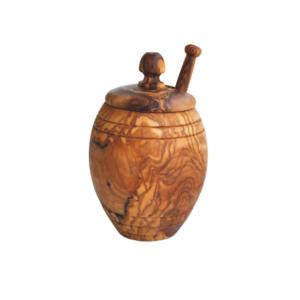 Olive Wood Honey Pot With Honey Dipper