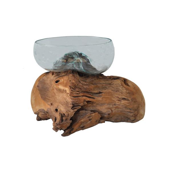 Teak Root and Blown Glass Sculpture / Terrarium