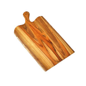 Teak Bark Edge Cutting Board With Handle