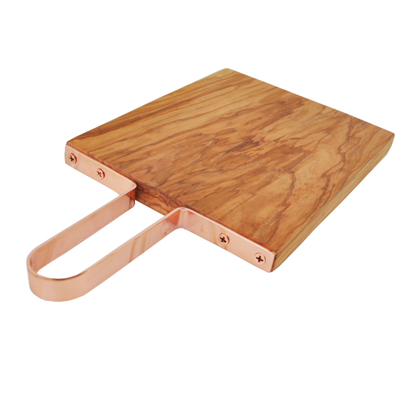 Olive Wood Cutting Board With Copper