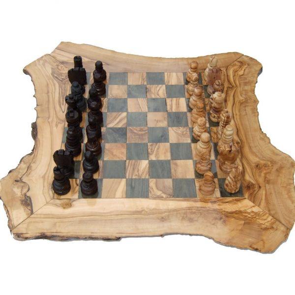Olive Wood Rustic Chess Set - Large