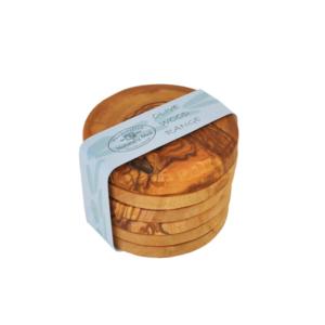Olive Wood Round Coasters - Set of 6