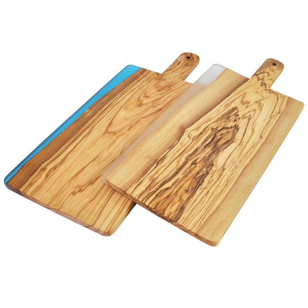 Olive Wood Cutting Board with Handle and Resin Edge