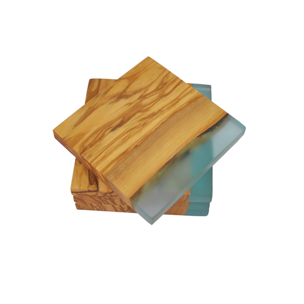 Olive Wood Square Coasters with Resin Edge