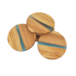 Olive Wood Round Coasters with River of Resin