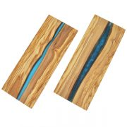 Olive Wood Board with Blue Crystal Resin