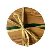 Olive Wood Round Coasters with Green Resin