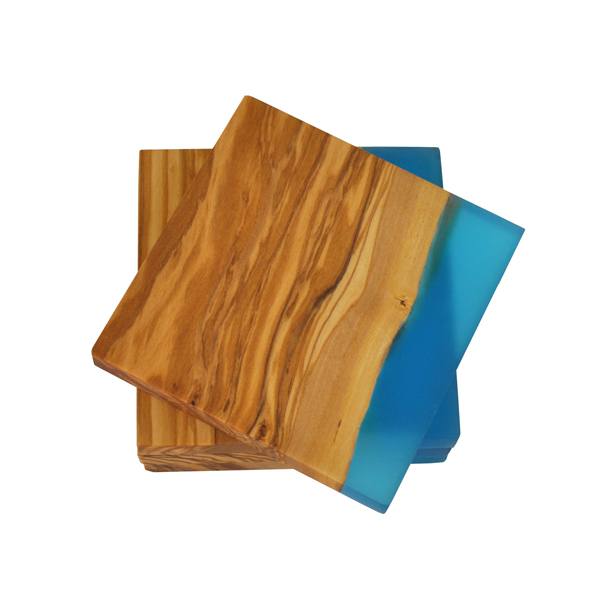 Square Olive Wood Coasters with Blue Resin Shoreline