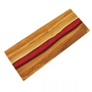 Olive Wood Rectangle Board with Magenta Resin River