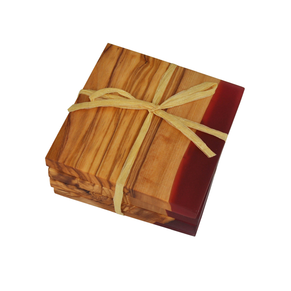 Square Olive Wood Coasters with Magenta Resin Shoreline Edge