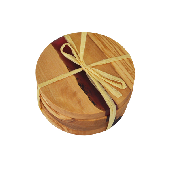 Round Olive Wood Coasters with River of Magenta Resin