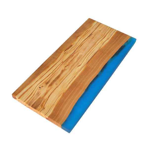 Olive Wood Rectangle Cutting Board with Blue Resin Shoreline Edge