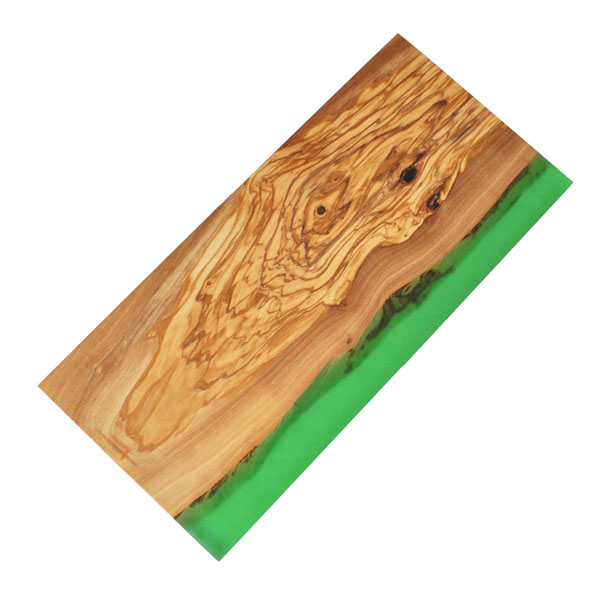 Olive Wood Rectangle Cutting Board with Green Resin Shoreline Edge