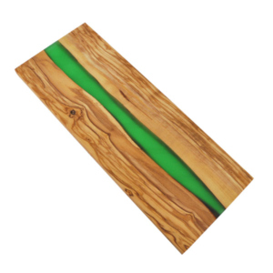 Olive Wood Board with Green Resin