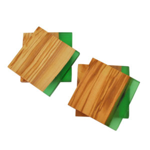 Olive Wood Square Coasters with Green Resin