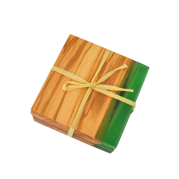 Olive Wood Coasters with Green Resin