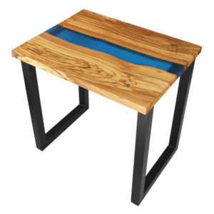 Olive Wood End Table with River of Blue Resin
