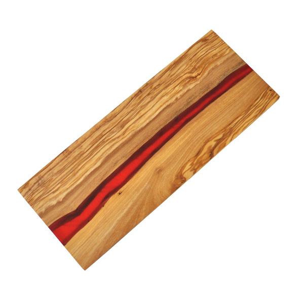Olive Wood Cutting Board with River of Red Resin