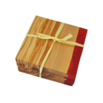 Olive Wood Square Coasters with Red Resin Shoreline