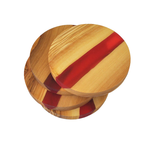 Olive Wood Round Coasters with River of Red Resin
