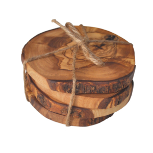 Olive Wood Rustic Coasters - Set of 4 Tied with Raffia