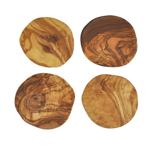 Olive Wood Pebble Coasters - Set of 4 Tied with Raffia