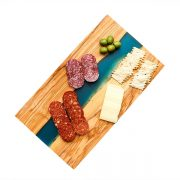 Olive Wood and Blue Resin Cutting Board