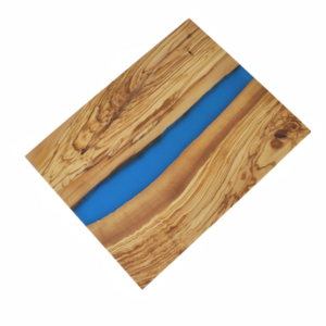 Olive Wood Large Cutting Board with River of Blue Resin - 18x14""