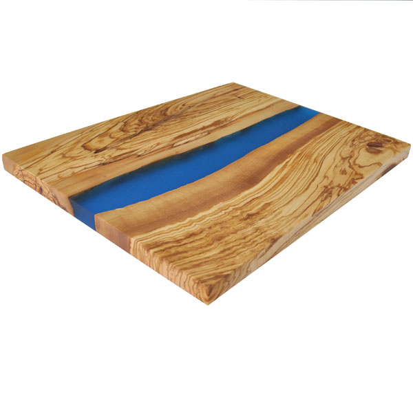 """Olive Wood Large Cutting Board with River of Blue Resin - 18x14"""""""